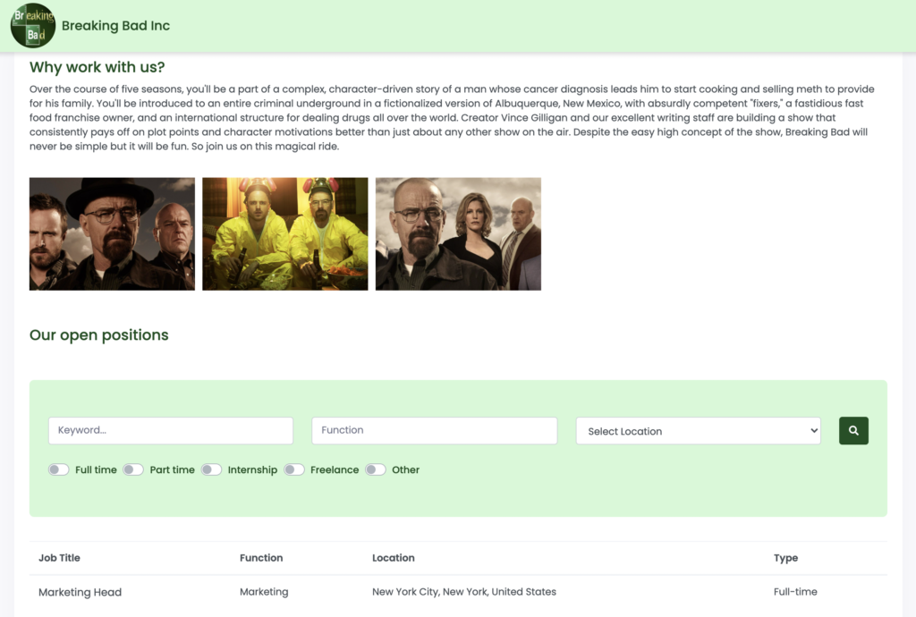 Folk Flow free applicant tracking system - Careers Page Screenshot