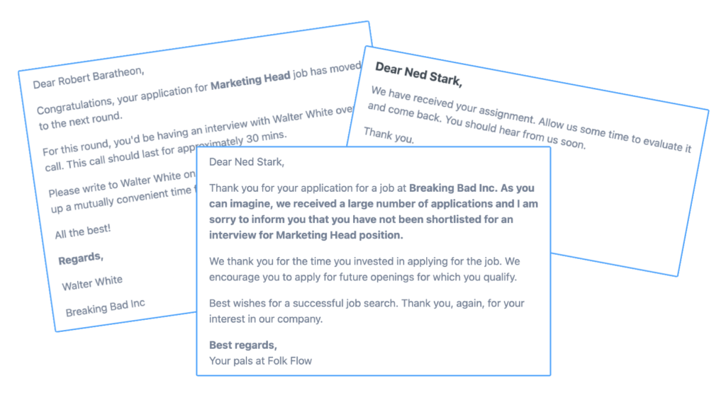 Folk Flow free applicant tracking software sends email alerts to candidates