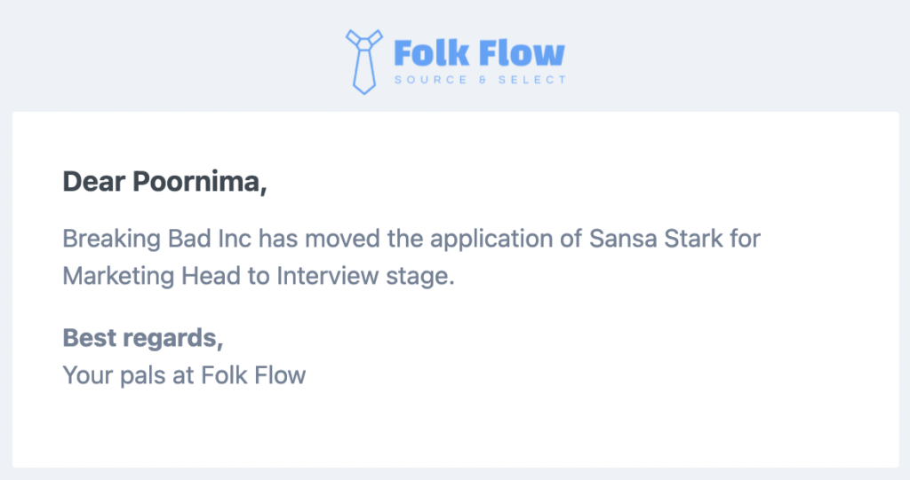 Folk Flow free applicant tracking system sends email alerts to staffing agency partner