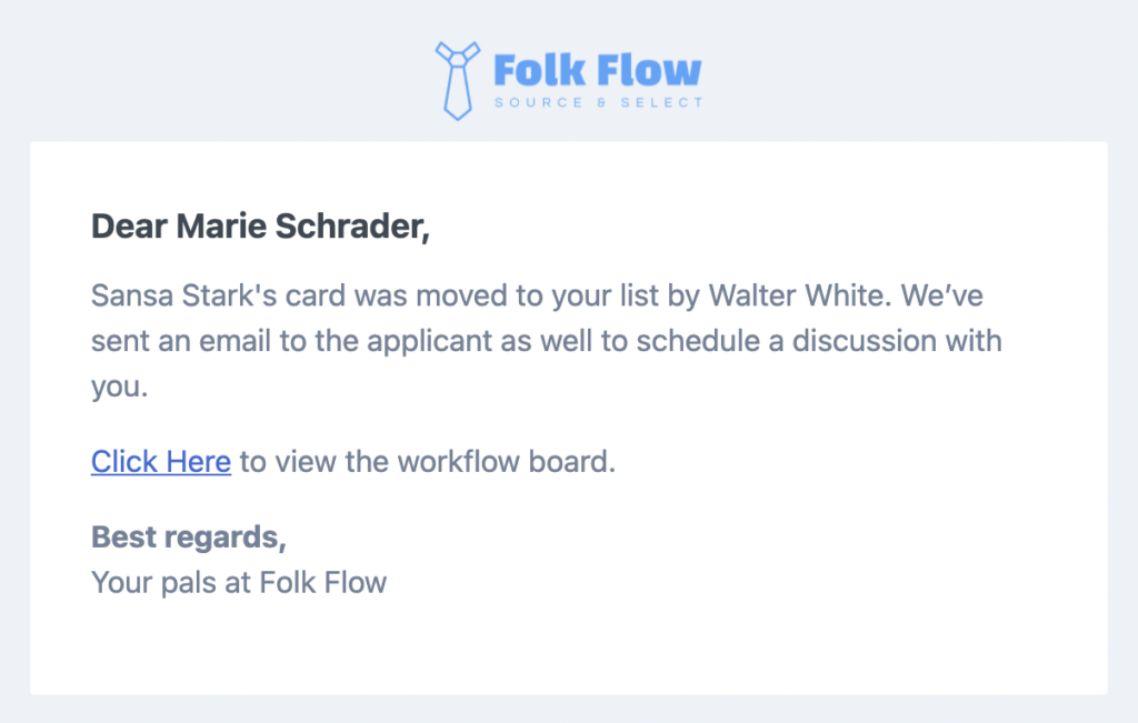 Folk Flow sends email alerts to members of the hiring team